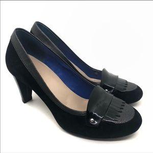 Cole Haan xNike Air Black braiden high loafer heel